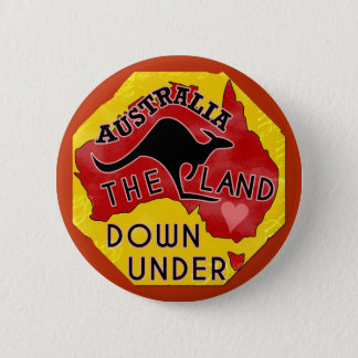 Australia Map Land Down Under with Kangaroo Retro 2 Inch Round Button