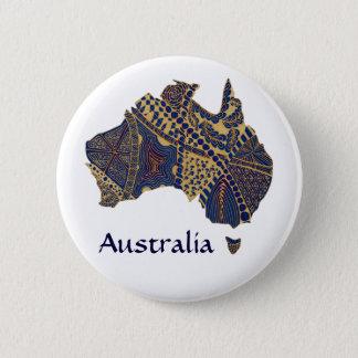 Australia Map Tan-Blue-Red 2 Inch Round Button
