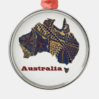 Australia Map Tan-Blue-Red Christmas Ornaments