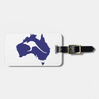 Australia Map With Kangaroo Silhouette Luggage Tag