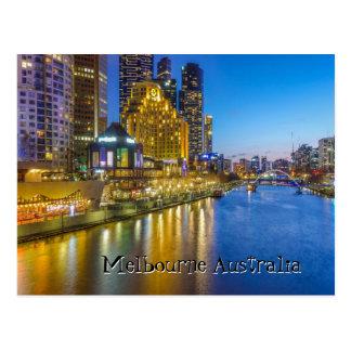 Australia Melbourne night time river image Postcard