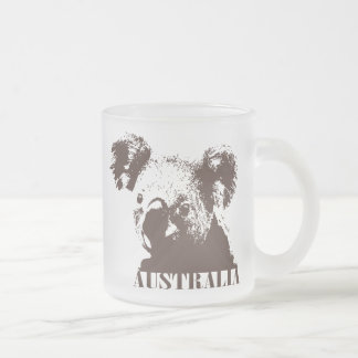 Australia 10 Oz Frosted Glass Coffee Mug