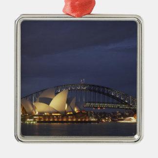 Australia, New South Wales, Sydney, Sydney Opera 3 Silver-Colored Square Ornament