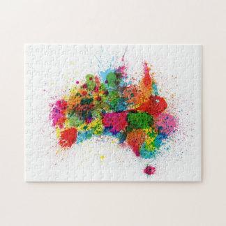 Australia Paint Splashes Map Jigsaw Puzzle