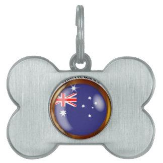 Australia Proud Flag Button Pet Name Tag