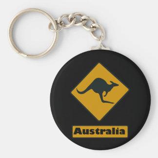 Australia Road Sign - Kangaroo Crossing Basic Round Button Keychain