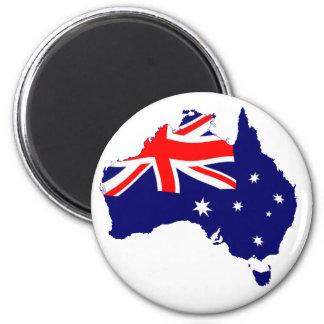 Australia Shape Flag 2 Inch Round Magnet