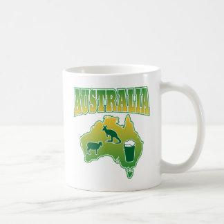 Australia Sheep Beer and Kangaroos Map Coffee Mug