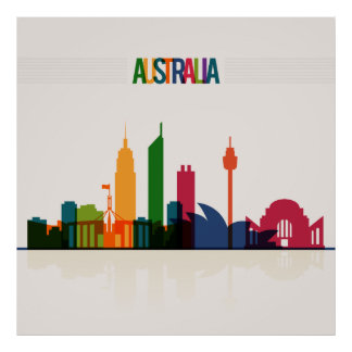 Australia Skyline Illustration Poster