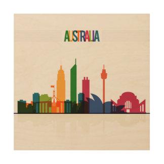 Australia Skyline Illustration. Wood Canvas