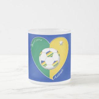 AUSTRALIA SOCCER national team Green & Gold 2014 10 Oz Frosted Glass Coffee Mug