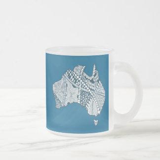 Australia Souvenir Map Art Frosted Glass Coffee Mug
