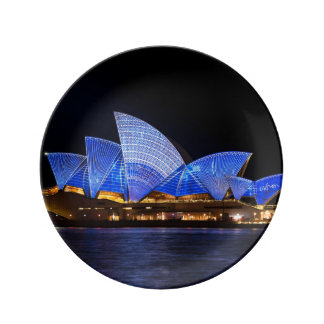 Australia Sydney Opera House At Night Plate