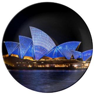 Australia Sydney Opera House At Night Plate