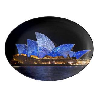 Australia Sydney Opera House At Night Porcelain Serving Platter