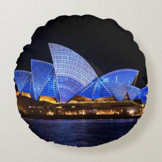 Australia Sydney Opera House At Night Round Pillow