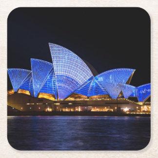 Australia Sydney Opera House At Night Square Paper Coaster