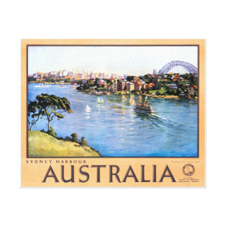 Australia Sydney Restored Vintage Travel Poster Canvas Print