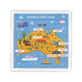 Australia Travel Guide Poster Acrylic Tray