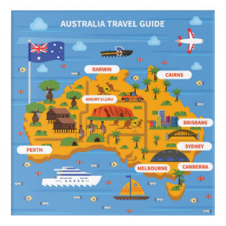 Australia Travel Guide Poster Acrylic Wall Art