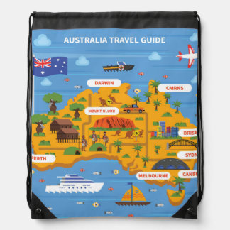 Australia Travel Guide Poster Drawstring Bag