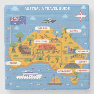 Australia Travel Guide Poster Stone Coaster