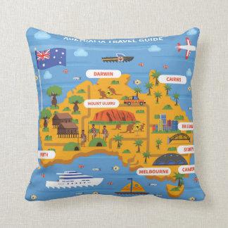 Australia Travel Guide Poster Throw Pillow
