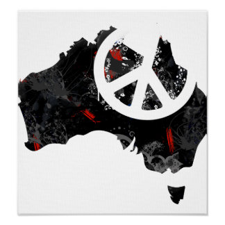 Australia Trendy Peace Sign with Australian map
