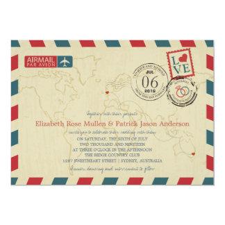 "Australia / UK Antique Airmail | Wedding 5"" X 7"" Invitation Card"