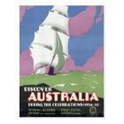 Australia Vintage Travel Poster Restored Postcard