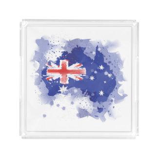 Australia Watercolor Map Acrylic Tray