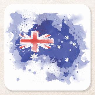 Australia Watercolor Map Square Paper Coaster