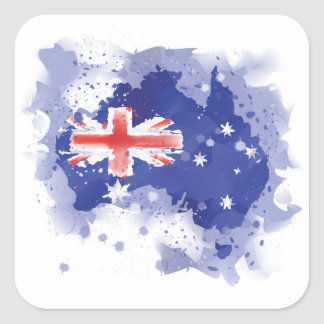 Australia Watercolor Map Square Sticker