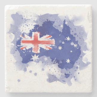 Australia Watercolor Map Stone Coaster