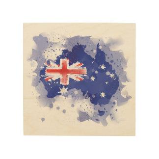 Australia Watercolor Map Wood Print