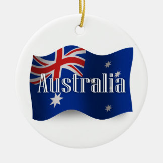 Australia Waving Flag Round Ceramic Ornament
