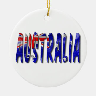 Australia Word With Flag Texture Ceramic Ornament