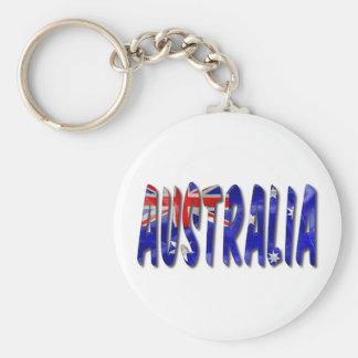 Australia Word With Flag Texture Keychain