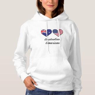 Australian American Flag Hearts Hoodie