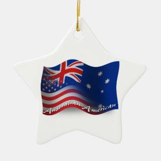 Australian-American Waving Flag Ceramic Star Ornament