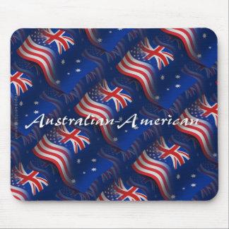 Australian-American Waving Flag Mouse Pad