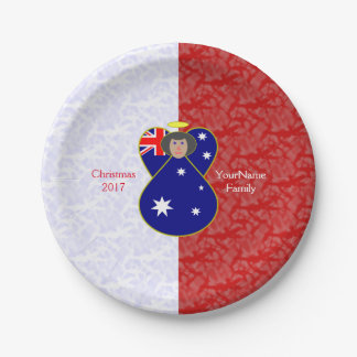 Australian Angel Flag Black Hair Red White 7 Inch Paper Plate