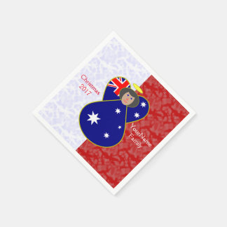 Australian Angel Flag Black Hair Red White Disposable Napkin