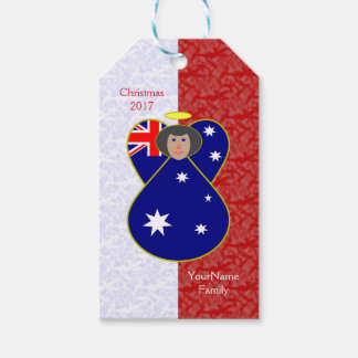 Australian Angel Flag Black Hair Red White Gift Tags
