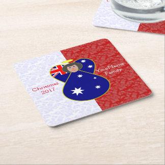 Australian Angel Flag Black Hair Red White Square Paper Coaster