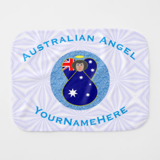 Australian Angel on White and Blue Squiggly Square Burp Cloth