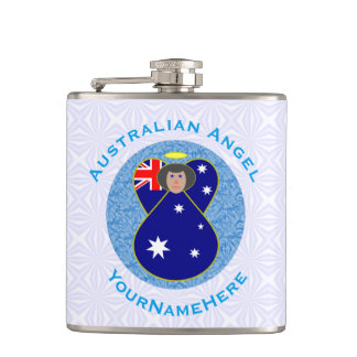 Australian Angel on White and Blue Squiggly Square Hip Flask