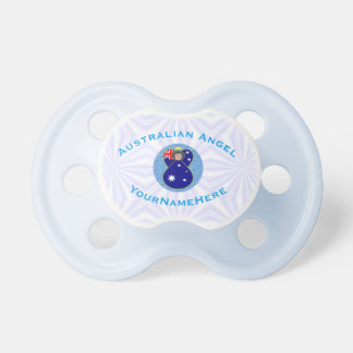 Australian Angel on White and Blue Squiggly Square Pacifier