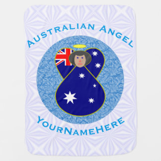 Australian Angel on White and Blue Squiggly Square Receiving Blanket