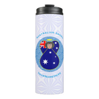 Australian Angel on White and Blue Squiggly Square Thermal Tumbler